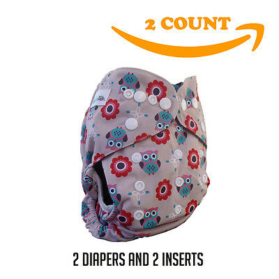 Baby Cloth Pocket Diaper + 5 Layer Charcoal Bamboo Insert (2 Pack) Owl Girl