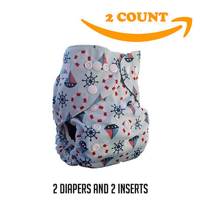 Baby Cloth Pocket Diaper + 5 Layer Charcoal Bamboo Insert (2 Pack) Nautical boy