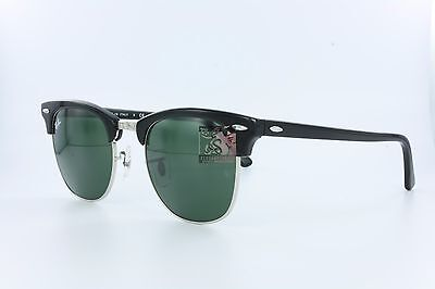 NIB NWT Ray-Ban RB3016 Black 901 Clubmaster Green 51mm Lens UV Sunglasses