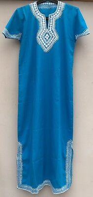 Ethnic/festival Turquoise With White Embrois Ery Gown/robe/kaftan/dress. S/m