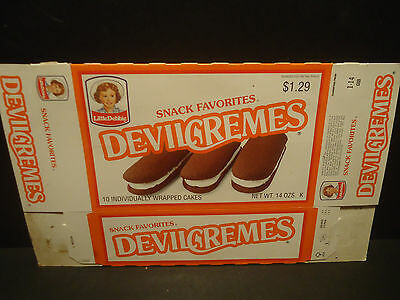Vintage 1992 Little Debbie Devil Cremes Snack Cakes Box Advertising Packaging