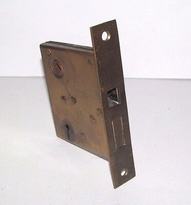 Antique Russell & Erwin Brass Mortise Door Lock Patented 1889