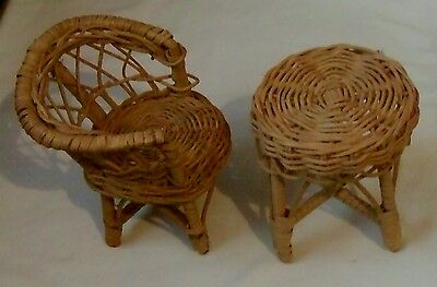 Doll Size Wicker Patio Chair And Table Set - For Barbie Or Other Fashion Dolls