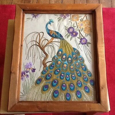 Vintage embroidered Peacock picture
