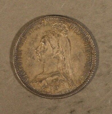 1887 Great Britain 6 Pence Circulated Silver        ** FREE U.S. SHIPPING **