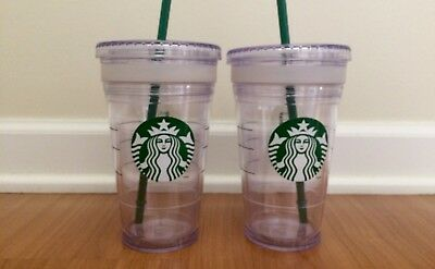 2 Starbucks 16 Ounce Cold Cup Tumblers w/ Lids - Clear Plastic/Double Walled