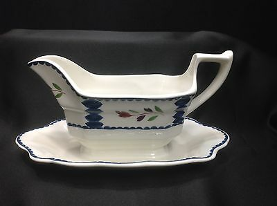 Adams LANCASTER gravy Boat with Attached Underplate, EC