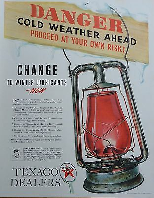 1940 PRINT AD TEXACO OIL Danger cold weather ahead, old lantern swings on sign