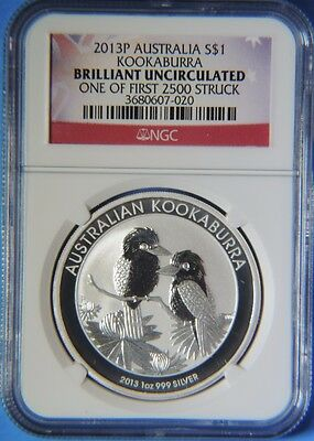 2013 Australia Kookaburra $1 Silver .999 1oz Coin NGC Graded Brilliant Unc