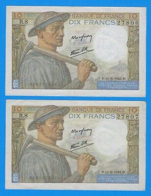 2 Sequential Serial Number 1942 France 10 Francs Notes P-99e WWII Era