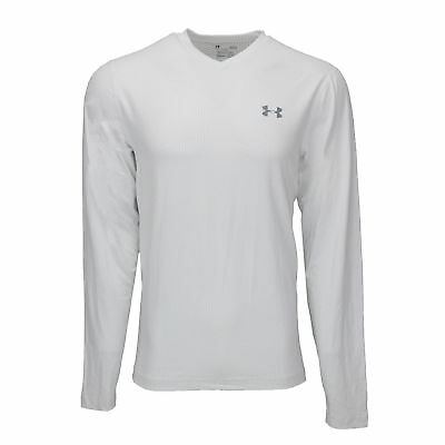 Under Armour Men's Printed ColdGear Fitted V-Neck L/S Shirt White/Steel M