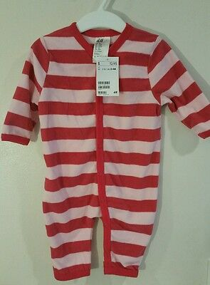 H&M Baby Girl's Romper Pink Stripes size 2-4 Months