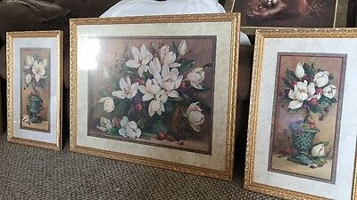 3 Piece HOME INTERIORS Print Picture Set By BARBARA MOCK Magnolias  Flowers