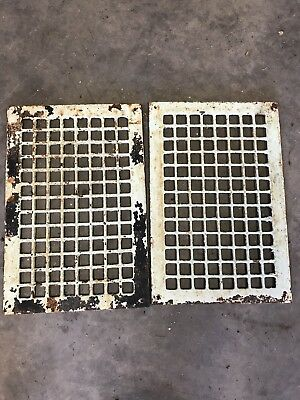 "Two Antique Vintage Metal Grate Register Heat Floor 16 x 10 Vent Opening 18""x12"""