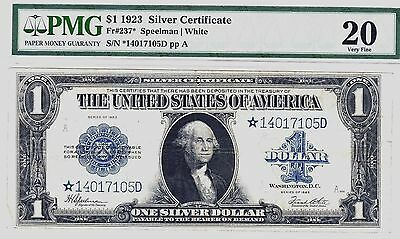 """Nice Looking """"scarce"""" 1923 {Star} $1 Large """"silver Cert"""" Fr237* Pmg Vf20  No Res"""