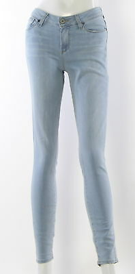 Women's PAIGE Blue Mixed Materials Skinny Jeans Size 27