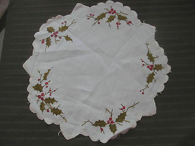 Antique SOCIETY SILK Fine Embroidered Linen Doily~HOLLY LEAVES Red Berries