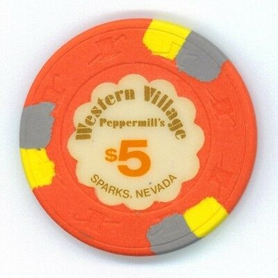 Peppermill's Western Village, Sparks, NV $5 casino chip