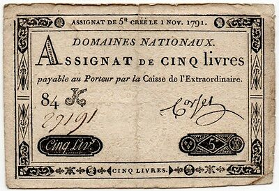 1791 France Assignat 5 Livres Domaines Nationaux Third Issue (P-A50 / Ass-20a)