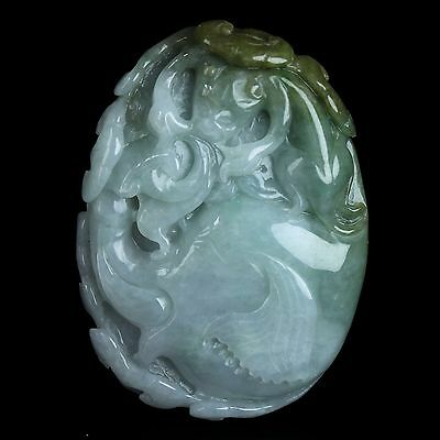 Certification Natural A Level Jadeite Jade Carving Elephant Necklace Pendant