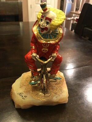 Vintage Ron Lee Tour de Clown on Tricycle Bicycle Signed 1980 SMOKE FREE HOME