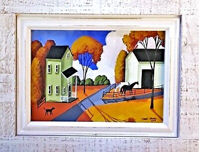 """11.25x9.25-""""COUNTRY HORSES"""" D Criswell ORIGINAL Framed/Signed/Folk-VERY NICE"""