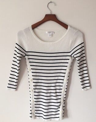 Motherhood Maternity Sweater S White Black Striped 3/4 Sleeve Scoop Neck Buttons