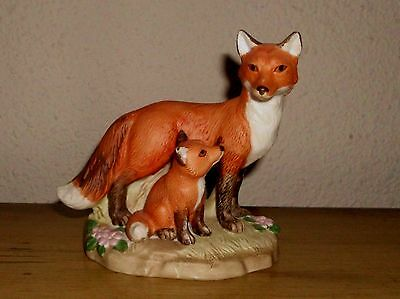Homco Masterpiece #1417 RED FOX MOTHER AND BABY Porcelain Bisque