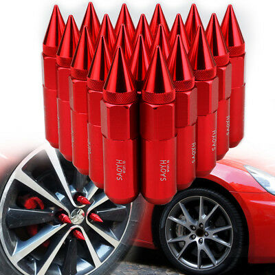 Red 20x CNC 60mm Lug Nuts Cap Spiked Extended Tuner M12X1.5 Wheels Rims Aluminum