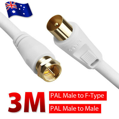 3m TV Antenna PAL Male Cable / F-Type Flylead Aerial Cord Coax Lead