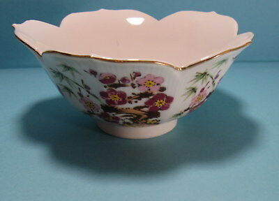 Vintage Scalloped Asian Lotus Petal Bowl with Pink Floral Design and Gold Trim