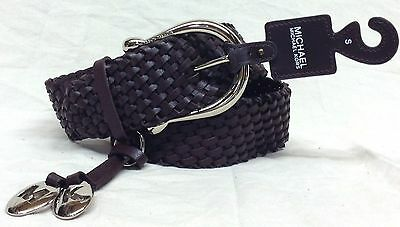NEW Michael Kors Size S Women's Braided Leather Belt 553633 Brown Silver Buckle