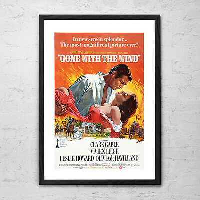 Gone with the Wind - Vintage Retro Epic Romance Movie Poster Print - 1939