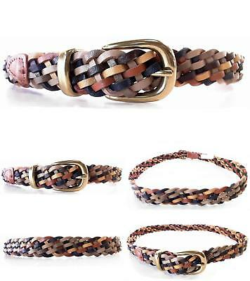 White Stag Womens size M/L Leather Braided Woven Belt Multi-Tan Classic Tan CHOP