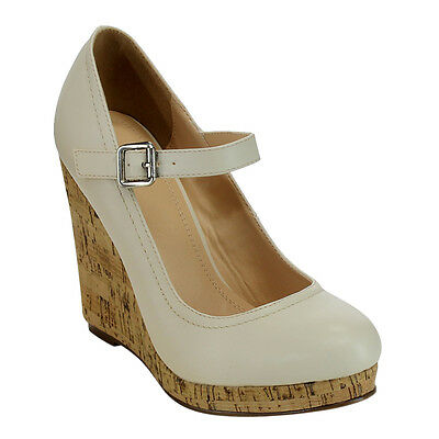 Women's Platforms & Wedges Mary Jane Style Heel Pumps Size 8 1/2 NUDE