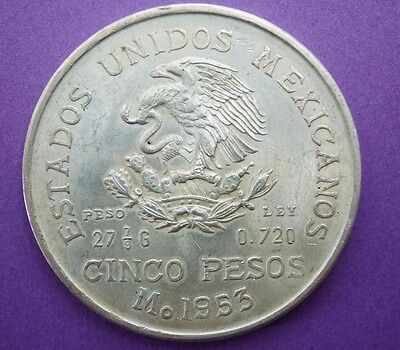 1953 Mexico 5 Pesos Silver Coin (Bicentennial of Hidalgo's Birth) 1753-1953