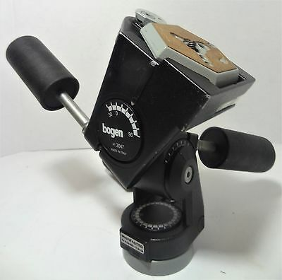 Bogen Manfrotto 3047 Deluxe 3-Way Pan/Tilt Tripod Head -Italy, Sturdy, Nice Cond