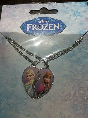 Disney's Frozen Childrens Twin Necklace Set With Heart Charms Anna & Elsa New