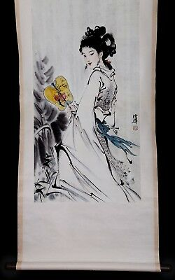 Excellent Rare Chinese Old Handwork Character Scroll Painting Mark Bo Hua KK766