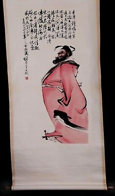 Awesome Fabulous Long Old Chinese Scroll Hand Painting Man Marked Ji Lu KK833