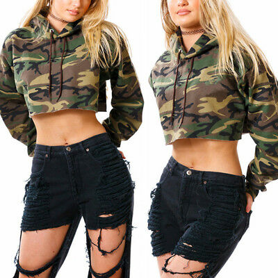 New Fashion Women Long Sleeve Exposed navel Camouflage hooded long sleeved Tops