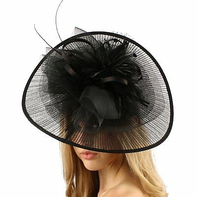 Big Kentucky Derby Feather Floral Organza Headband Fascinator Cocktail Hat Black