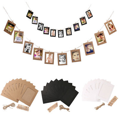 10Pcs Hanging Album Clip Kraft Paper Photo Frame Strings Rope Wedding Decoration