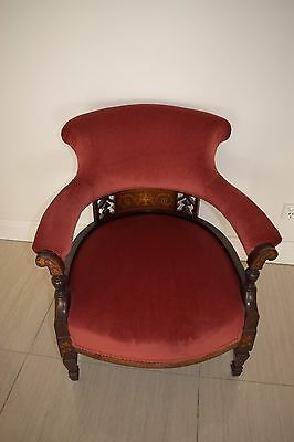 Antique Rosewood , Tub chair, bedroom chair, occasional chair, victorian.