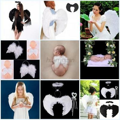 AU Adult Kid Baby Feather Wings Black White Angel Fairy Fancy Costume  Halloween