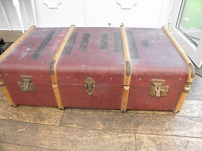 Antique Vintage Steamer Trunk Suitcase , Wooden Banded Storage Chest Retro Table