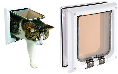 TRIXIE Cat Door Flap 4 Way with Tunnel Magnetic Lockable Silent Action 38641 New