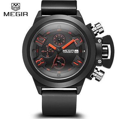 MEGIR Fashion Mens Chronograph Date Quartz Watch Military Army Wristwatches Gift
