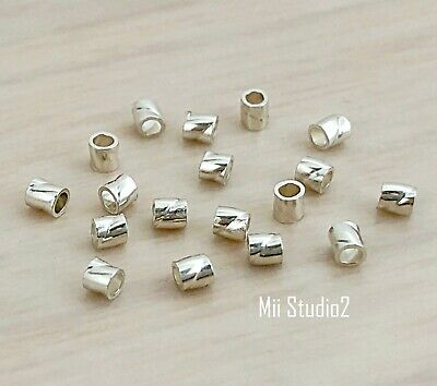 100pcs 925 Sterling Silver Twisted Tube 2.0x2.0mm F53s