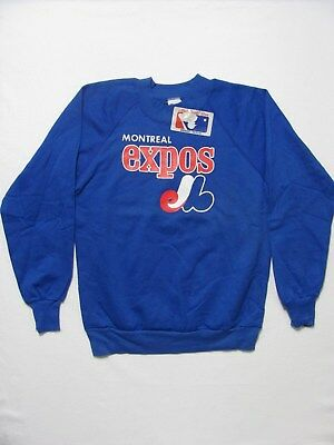 vintage 80s NEW DEADSTOCK MONTREAL EXPOS BASEBALL 50/50 soft sweat-shirt XS/S